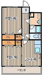 Reve Sentir(レーヴサンティール)[203号室]の間取り