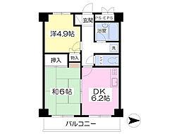 ウエスタンコートハウス 1階2DKの間取り