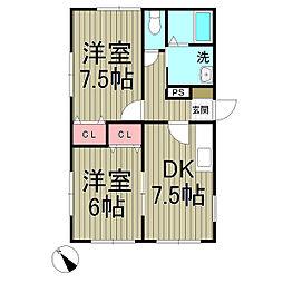 梅澤ハイツ[1階]の間取り