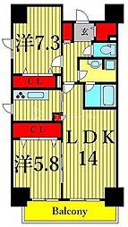 東京メトロ東西線 南砂町駅 徒歩15分の賃貸マンション 6階2LDKの間取り