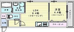 JR東西線 加島駅 徒歩4分の賃貸アパート 2階1LDKの間取り