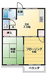 ふじハイツA棟[202号室]の間取り