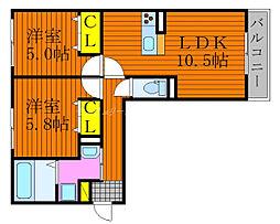 JR山陽本線 庭瀬駅 徒歩30分の賃貸アパート 3階2LDKの間取り