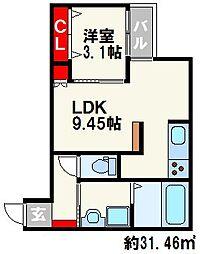 福岡市地下鉄七隈線 六本松駅 徒歩7分の賃貸アパート 2階1LDKの間取り