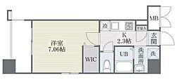 ザ・レジデンス博多 6階1Kの間取り