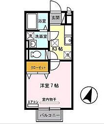 兵庫県尼崎市武庫川町の賃貸アパートの間取り
