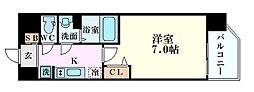 プレミアムコート阿波座WEST 9階1Kの間取り