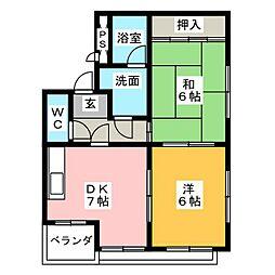 キャッスルミニ岩塚[4階]の間取り