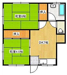 第二ふじ荘[2階]の間取り