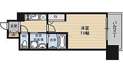 JR東西線 大阪城北詰駅 徒歩9分の賃貸マンション 7階1Kの間取り