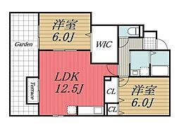 JR総武本線 成東駅 徒歩20分の賃貸アパート 1階2LDKの間取り