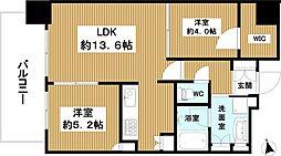 プラウドタワー堺東 14階2LDKの間取り