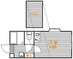 埼玉県富士見市鶴瀬西3丁目の賃貸アパートの間取り