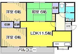 東京都国分寺市東恋ヶ窪5丁目の賃貸マンションの間取り