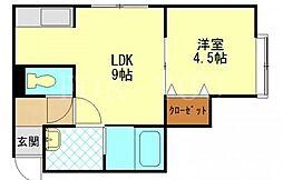 北海道札幌市豊平区平岸六条12丁目の賃貸アパートの間取り