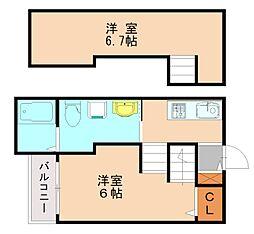 JR香椎線 和白駅 徒歩3分の賃貸アパート 2階ワンルームの間取り