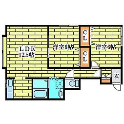 ルミエール平岡3・3[2階]の間取り