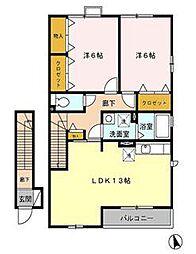 エクセルパークB[2階]の間取り