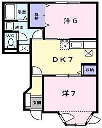 岡山県倉敷市真備町岡田の賃貸アパートの間取り