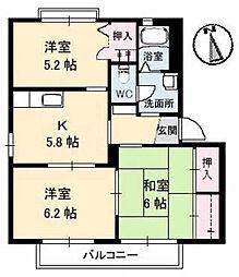 広島県東広島市西条西本町の賃貸アパートの間取り
