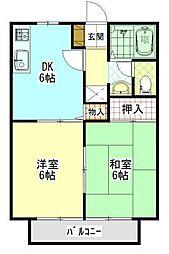 広島県福山市本庄町中1丁目の賃貸アパートの間取り