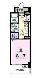 ラインスター三萩野[6階]の間取り