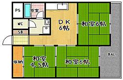 第2ロイヤルハイツ和田[202号室]の間取り