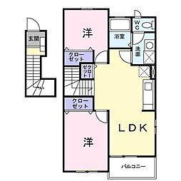 神奈川県海老名市門沢橋4の賃貸アパートの間取り