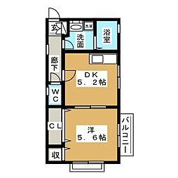 東急東横線 代官山駅 徒歩7分の賃貸アパート 2階1DKの間取り