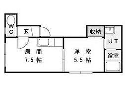 北海道札幌市豊平区月寒東二条16丁目の賃貸アパートの間取り