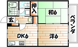 福岡県北九州市戸畑区丸町3丁目の賃貸アパートの間取り
