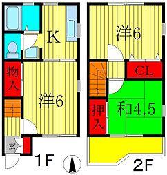 [テラスハウス] 千葉県松戸市中和倉 の賃貸【千葉県 / 松戸市】の間取り