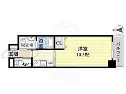 名古屋市営東山線 岩塚駅 徒歩9分の賃貸マンション 2階1Kの間取り