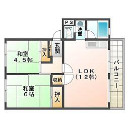 名谷農住団地B棟[1階]の間取り