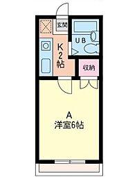神奈川県相模原市南区古淵1丁目の賃貸アパートの間取り