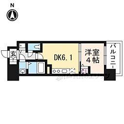 京都地下鉄東西線 太秦天神川駅 徒歩6分の賃貸マンション 7階1DKの間取り