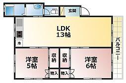 曽和山マンション[2階]の間取り