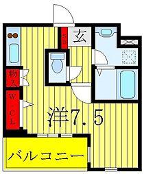 ROYGENT SUGAMO EAST 1階ワンルームの間取り