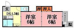 広島県広島市中区富士見町の賃貸アパートの間取り
