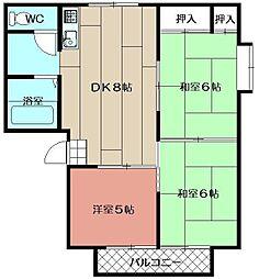 サンハイツ本城 A棟[A-102号室]の間取り