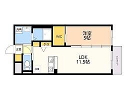 仮)野芥3丁目 新築賃貸マンション 2階1DKの間取り