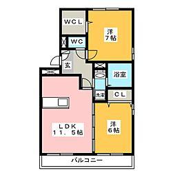 ロイヤルブルーB棟[3階]の間取り