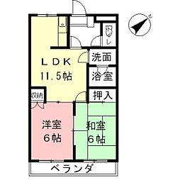 岐阜県羽島市福寿町平方5丁目の賃貸アパートの間取り