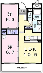 メゾン・ジェルメM[3階]の間取り