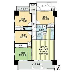 サーパス浜ノ町ツインタワー[5階]の間取り