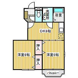 愛知県名古屋市中川区東春田3丁目の賃貸アパートの間取り