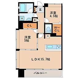 仙台市営南北線 五橋駅 徒歩8分の賃貸マンション 10階2LDKの間取り
