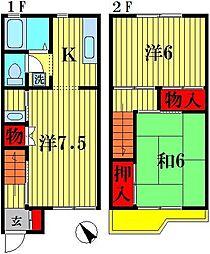 [テラスハウス] 千葉県松戸市大橋 の賃貸【千葉県 / 松戸市】の間取り