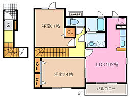 三重県松阪市射和町の賃貸アパートの間取り