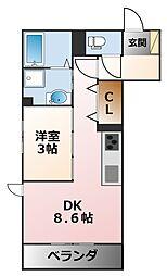 (仮称)花園町D−room[3階]の間取り